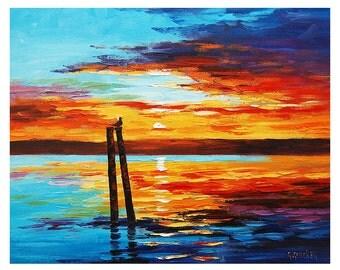 SUNSET OIL PAINTING Palette Knife Seascape  Fine Art Gercken