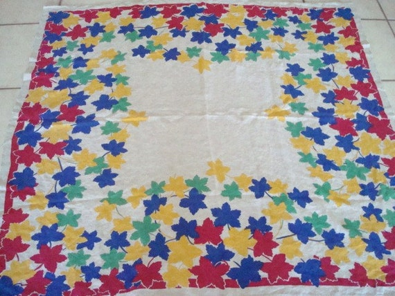 Vintage Pride of Flanders Linen Tablecloth Red Blue Green Yellow Leaves