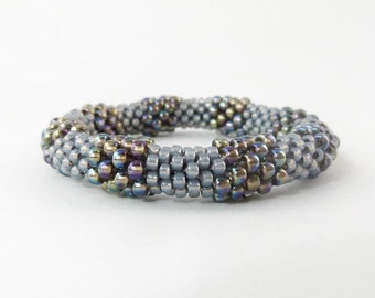 Bead Crochet Rope Bangle Golden Grey Colorblock - Item 1264
