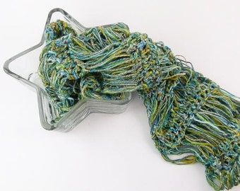 Crochet Infinity Scarf, Summer Crochet Cowl in Green and Blue Mediterranean Colors - Item 1327