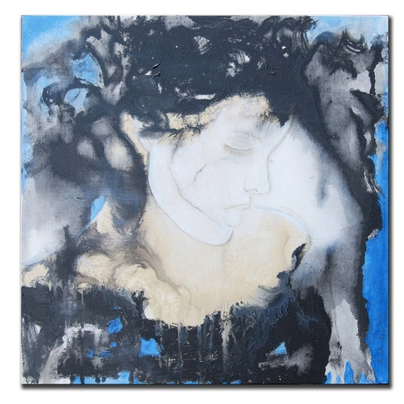 RESERVED for Maggie - Abstract Painting, Portrait Painting, Woman Painting, Figure Painting, Blue Figure Painting