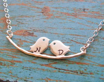 tweet bird necklace - customize with initials