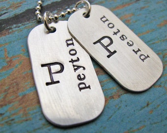 mommy dog tags - hand stamped sterling silver