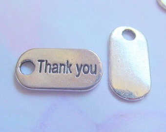 25 Thank You Charms Silver
