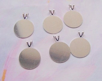 16 Flat Disk Pendant Blank With Bail