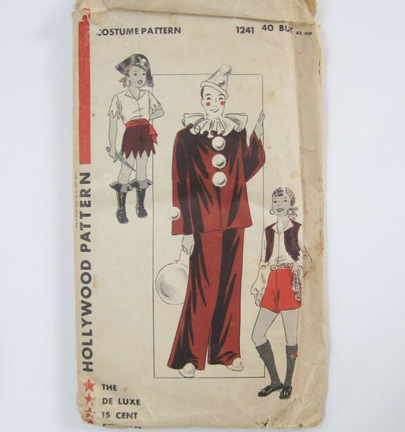 """Rare vintage Halloween costume pattern for clown, pirate, and gypsy from 1930s or 1940s, large size, 40"""" bust, Hollywood 1241"""