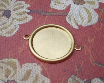 Brass 28x22mm 2 Ring/loop Round Hollowed Back Flat Back Connector Frame Settings with Recessed Area for 18 or 19mm Flat Back Cabs (6 pieces)