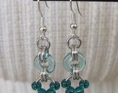 Bluegreen Teal Beaded Chainmaille Earrings - NA-577
