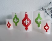 Fluer de Lis Ornament Luminaries -Set of 5-You Pick The Colors - Great for Parties - Holidays - Weddings - Home Decor