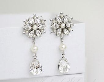 Wedding Earrings Flower Bridal Earrings Rhinestone Crystal Drop Earrings Bridal Jewelry  AUBURY CLASSIC