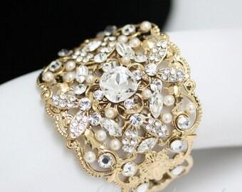 Gold Wedding Cuff Bracelet  Swarovski Crystal Bridal Bracelet crystal Wide Cuff bracelet wedding jewelry FAITH