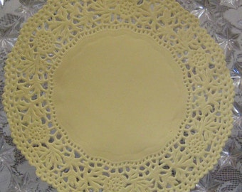 Made In Germany 10 Fancy Paper Lace Doilies Doily In Pale Yellow 4 Inch  GD 310 Y