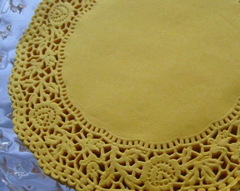Made In Germany 10 Fancy Paper Lace Doilies Doily In Dark Yellow 6.25 Inch