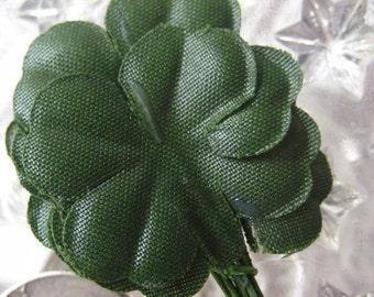 12 Millinery Leaves Shamrocks Four Leaf Clovers Fabric Leaves From Austria  A70