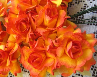 Paper Millinery Flowers 12 French Roses In Hot Orange