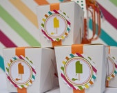 Popsicle Party Favor Stickers Summer Party Birthday Party Favor Stickers Set of 12 by Belleza e Luce