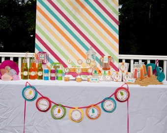 Popsicle Party for 12 Summer Birthday Party Carnival Style Party Package by Belleza e Luce