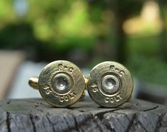 Wedding cuff links gold cuff links Federal Cartridge .45 Colt cuff links bullet cuff links Best man gift