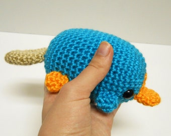 Big Perry the Platypus Amigurumi Crochet Fan Plushie - Inspired by Phineas and Ferb - MADE TO ORDER