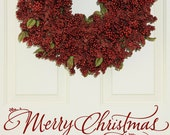 Merry Christmas - hand drawn vinyl wall decal for door, window, mirror or wall - sticker sign