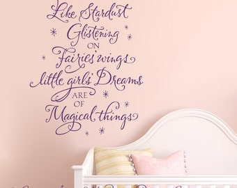 Like stardust glistening on fairies wings...wall words vinyl art design home decor lettering graphic calligraphy old barn rescue company