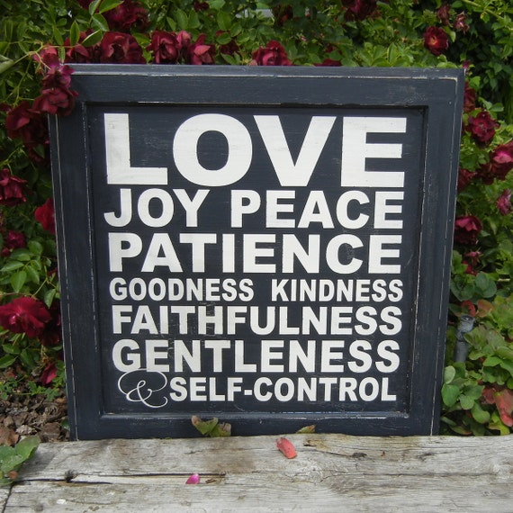 The fruit of the spirit - Subway style sign on reclaimed wood