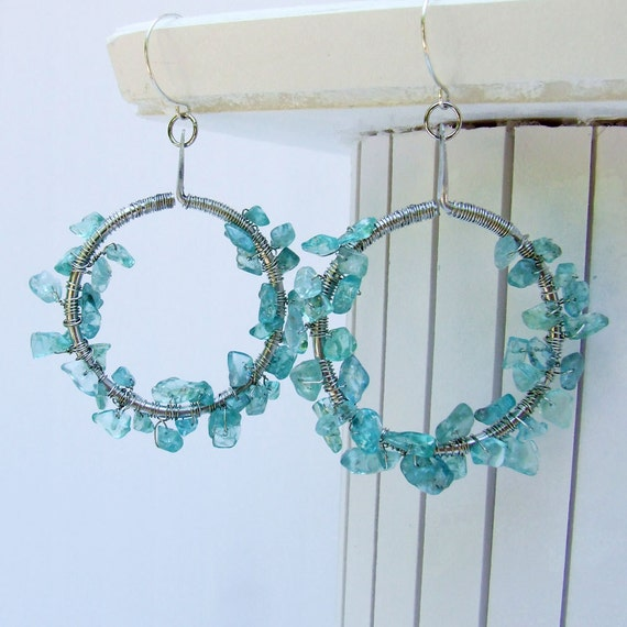 Apatite Hoops, Blue green apatite wrapped on aluminum dangle hoops SALE