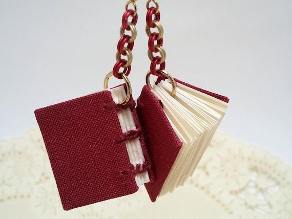 Burgundy red & gold mini book earrings