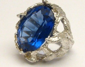 Handmade Solid Sterling Silver Man Made Tanzanite Stone Ring