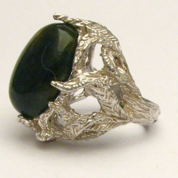 Handmade Solid Sterling Silver Green Moss Agate Cabochon Ring