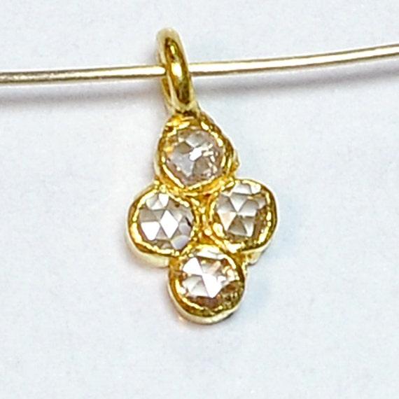 18k Solid Yellow Gold Rose Cut Champagne Diamond Charm Pendant
