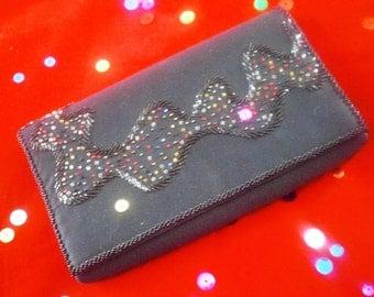 Rinco of California Black Satin Multicolored Beaded Evening Handbag