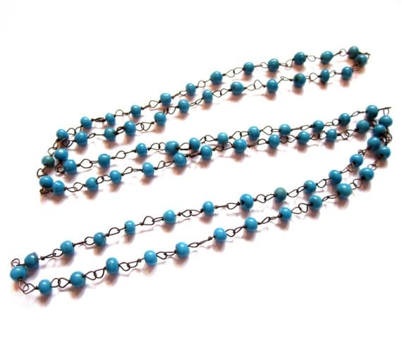 Vintage Blue Glass Bead Necklace, Brass Wire Chain