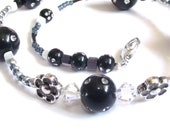 Classy black and silver necklace with crystals