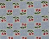 Mary Engelbreit OOP Fabric- Red Cherries on Light Blue and White Checks - 2 Yards