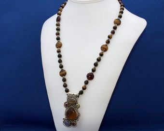Tiger Eye, Labradorite, Peridot, Garnet, Iolite Pendant Necklace, Tiger Eye Necklace, Womans Statement Necklace, Social Occasion Jewelry