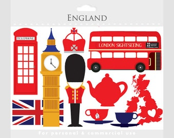 London clipart - England, UK, clip art, travel clipart, tea, bus, double decker, flag, crown, clock tower, telephone booth, teacups