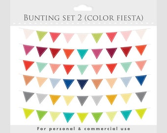 Bunting banner clip art for digital scrapbooking - flag clip art, stiched flags, decorative, rainbow colors, multicolor