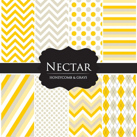 Digital papers for scrapbooking - yellow chevron paper, polka dots, argyle, yellow gray for personal and commercial use