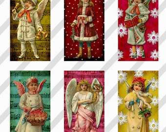 Digital Collage Sheet Altered Art Domino Images Victorian Christmas 1 X 2  Inches (Sheet no. FS179) Instant Download