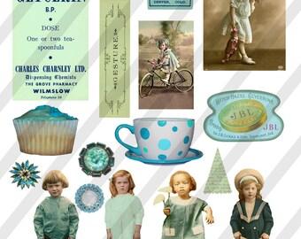 Digital Collage Sheet  Teal  Images (Sheet no. O9) Instant Download