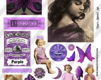 Digital Collage Sheet  Purple  Images (Sheet no. O8) Instant Download
