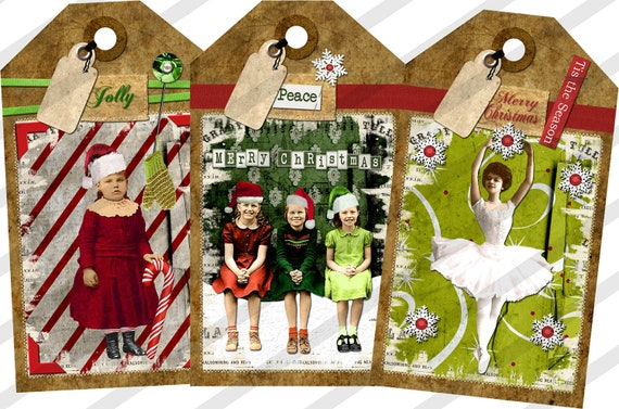 Digital Collage Sheet Christmas Gift  Tags (Sheet no. O159) Instant Download