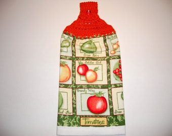 TOMATO VARIETIES Double Layer Hanging Crochet Towel for Kitchen, housewarming, birthday, holiday, gifts
