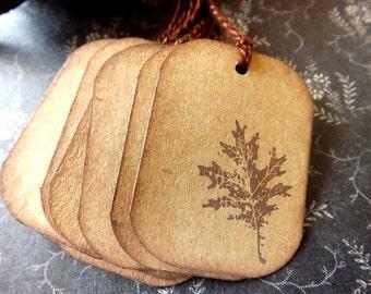 Brown  Leaf Gift Tags // Vintage Inspired // Set of 6