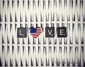 USA Photograph Photo -  Love, heart, military, patriotic, America, white, flag, United States, scrabble  - USA Love - 8 x 10 Fine Art Print