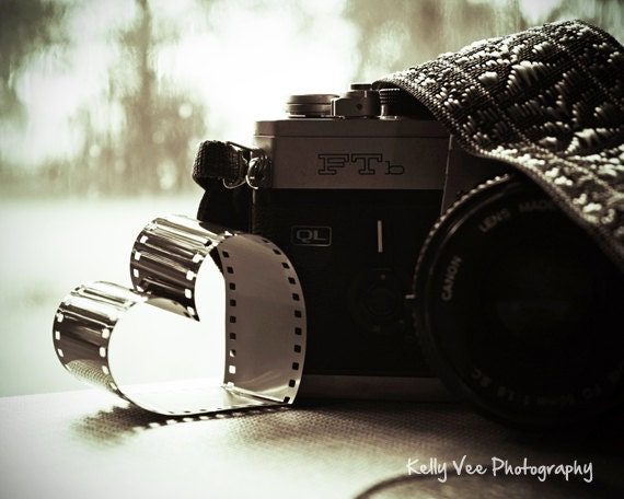 Camera Love Photograph Photo - Heart, vintage, canon, film, black and white, lover - Picture of Love - 8 x 10 Fine Art Print