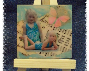 ZNE - Custom Mini Collage Art On Canvas 3x3 With Easel -  Art by ruby