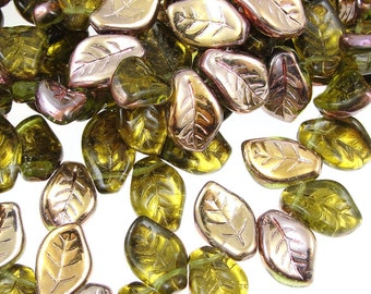 Olivine Leaf Beads 25 14mm x 9mm Czech Glass Leaves Olive Green Leaf Moss Green Bronze Fall Beads Autumn Beads Golden Leaf Briolettes