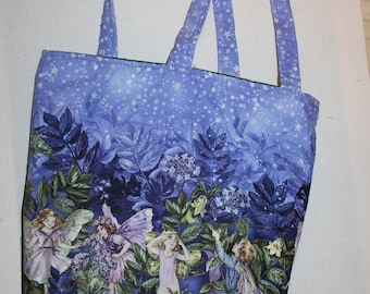 Flower Fairy Night Border Cotton Shoulder Bag